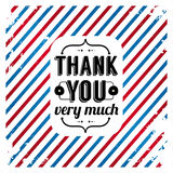 Thank you card on tricolor grunge background. Royalty Free Stock Image