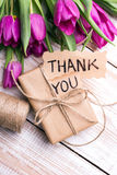 Thank you card and tulip bouquet Royalty Free Stock Photos