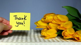 Thank you card with tulips. Hand moving card with words Thank you. With yellow tulips on blue background stock footage