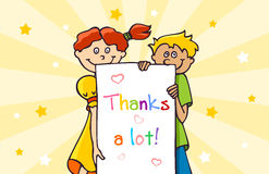 Thank you card. With a two children Royalty Free Stock Photo