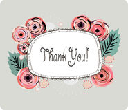 Thank you card vector illustration. Floral background with a white editable banner for your text royalty free illustration