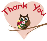 Thank You Card. Vector illustration of a thank you card with owl Stock Images