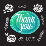 Thank you card. Vector illustration of a stone with lettering calligraphy inscription. Wedding Design stock illustration