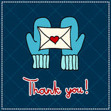 Thank you card. Vector thank you card with mittens and a letter on a dark background Royalty Free Stock Images