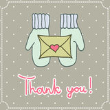Thank you card. Vector thank you card with mittens and a letter on a light background Royalty Free Stock Photo