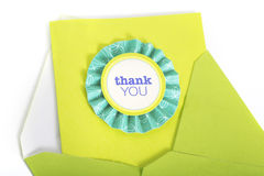 Thank You Card. Very pretty thank you card with envelope stock photography