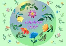 Thank you card watercolor digital greeting card Floral Print vector illustration