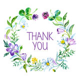 Thank you card with watercolor floral bouquet Royalty Free Stock Photo