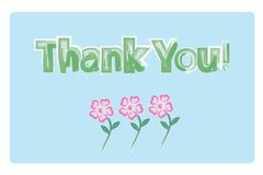 Thank you card watercolor flowers