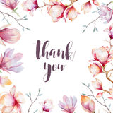 Thank you card with watercolor peony s. Rustic boho Wedding vector illustration