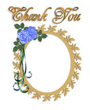 Thank you Card with Wedding Frame. 3d illustrated oval frame with pretty gold accents and roses for wedding thank you card. Insert your own picture Stock Photo
