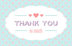 Thank you card. With a white label and hearts Stock Images