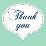 Thank you card 1. Word  thank you  on white banner and white polka dot on sky blue color background Stock Photo