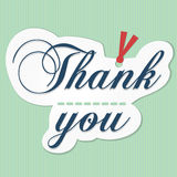 Thank you card 3. Word  thank you  on white paper with red ribbon and yellow line on sky blue color background Royalty Free Stock Photos
