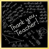 Thank you card. World Teachers day. World Teachers day. School doodles Supplies Sketchy background, composition. Black Chalkboard. Hand Drawn Vector Royalty Free Stock Photo