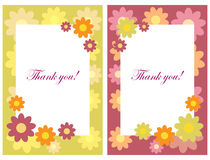 Thank you cards. Set of two floral thank you cards for your special occasion, isolated on white.EPS file available Stock Photos