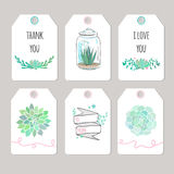 Thank you cards with flowers and succulents Royalty Free Stock Photos