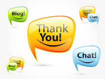 Thank you, chat, blog - glossy speech bubbles. Royalty Free Stock Photography