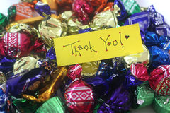 Thank you chocolates. Saying thank you with love Stock Images