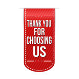 Thank you for choosing us banner design. Over a white background Royalty Free Stock Images