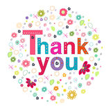 Thank you circle greeting card with colorful flowers Royalty Free Stock Image