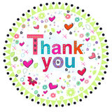 Thank you circle greeting card with colorful flowers Stock Photography