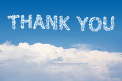 Thank You Cloud Text. On the sky Royalty Free Stock Photography