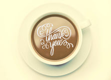 Thank you with coffee cup vector Royalty Free Stock Images