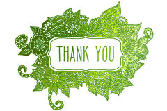 Thank you colored doodle frame. Colored ornate floral doodle frame isolated on white with hand drawn words 'thank you' on it Stock Images