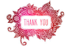 Thank you colored doodle frame Royalty Free Stock Photos