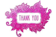 Thank you colored doodle frame Stock Image