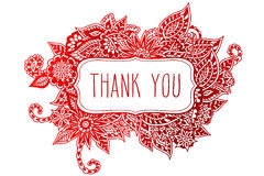 Thank you colored doodle frame Royalty Free Stock Images