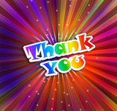 Thank you. Colorful background with beams and thank you words Royalty Free Stock Photos