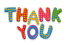 Thank You colorful lettering with polka dot pattern Stock Photos