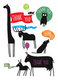 Thank you comic zoo set Royalty Free Stock Images