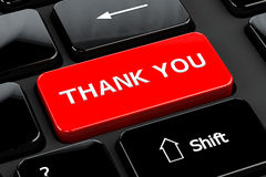Thank you, on computer keyboard background. Thank you, words on computer keyboard background. 3D render Stock Images