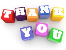 Thank you concept on colorful cubes on white background. In background stock illustration