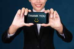 Thank you concept, Happy businesswoman Show text Thank you on Sm