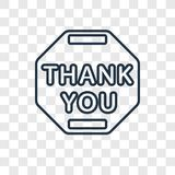 Thank you concept vector linear icon isolated on transparent bac royalty free illustration