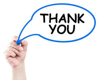 Thank you. Concept written by hand using a marker on transparent wipe board with white background and copy space stock photography