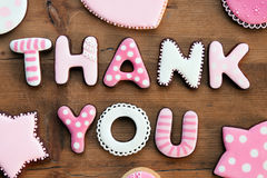 Thank you cookies. Cookies with a thank you message stock images