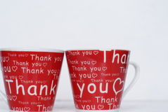 Thank you cups. A pair of  a thank you cups as a gifts for a special friend Stock Photos