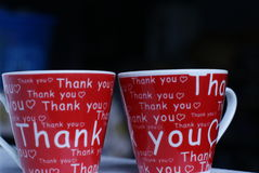 Thank you cups. A pair of  a thank you cups as a gifts for a special friend Royalty Free Stock Photography