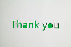 Thank you cut out from paper Stock Image