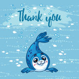 Thank you. Cute card with cartoon baby Seal. Vector illustration Royalty Free Stock Photos
