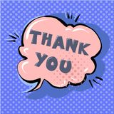 Thank you cute retro cartoon comic style speech bubble with halftone design background vector illustration