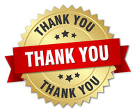 Thank you 3d gold badge. With red ribbon Stock Image