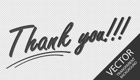 Thank You!!! 3D Letters - Gray Vector Illustration - Isolated On Transparent Background royalty free illustration