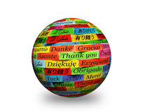 Thank You 3d spere. Thank You Word Cloud printed on colorful  paper Stock Images
