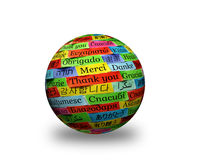 Thank You 3d spere. Thank You Word Cloud printed on colorful paper different languages 3d ball royalty free stock images